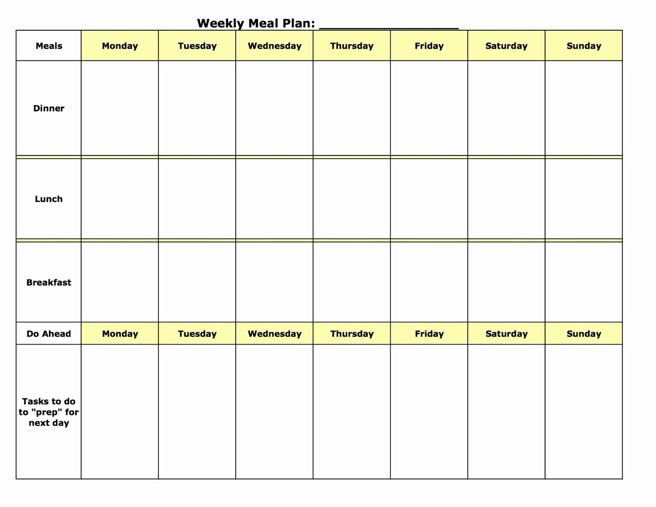 Weekly Meal Planner Template Word Inspirational Meal Planning Template
