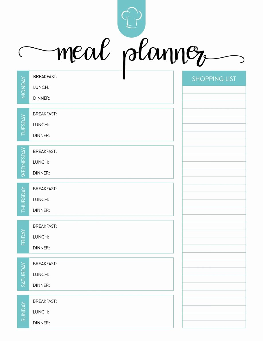 Weekly Meal Planner Template Word Inspirational Printable Meal Planning Template Dinner Planner Blank Plan