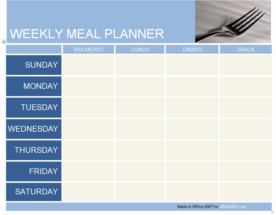 Weekly Meal Planner Template Word Inspirational Weekly Meal Planner Template