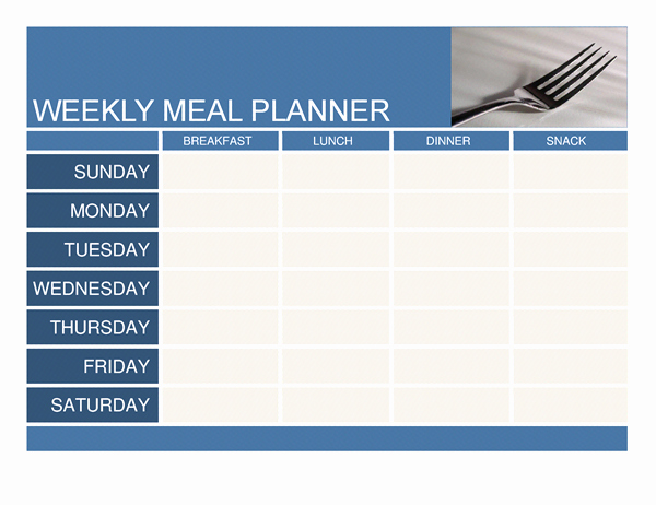 Weekly Meal Planner Template Word Lovely Planners and Trackers Fice