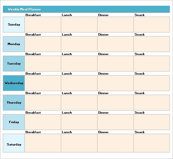 Weekly Meal Planner Template Word Luxury 18 Meal Planning Templates Pdf Excel Word