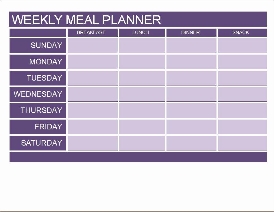 Weekly Meal Planner Template Word Luxury Meal Planner Calendar