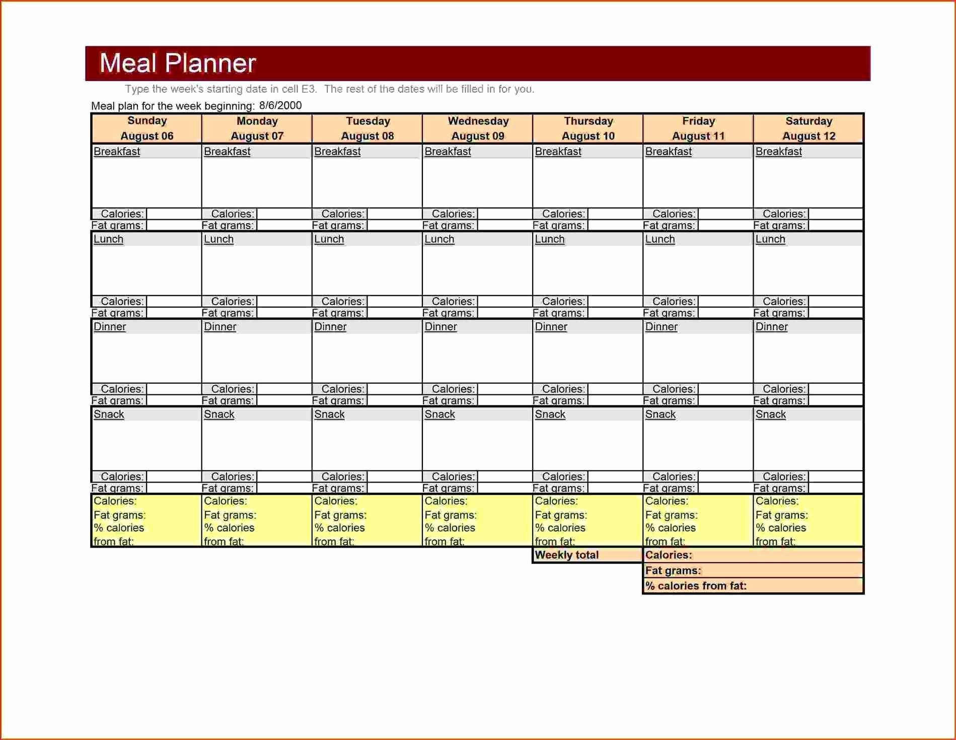 Weekly Meal Planner Template Word Unique Large Weekly Menu Template Excel Meal Planner