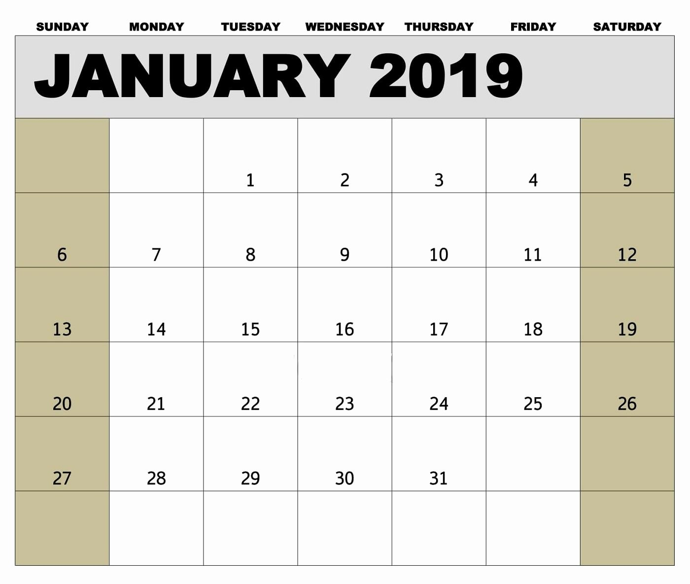 Weekly Payroll Calendar 2019 Beautiful January 2019 Biweekly Payroll Calendar Template for
