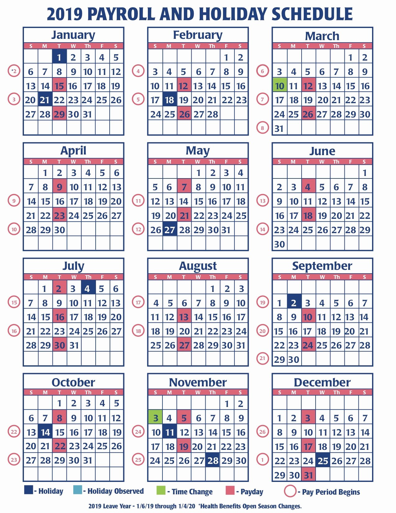 Weekly Payroll Calendar 2019 Beautiful Weekly Payroll Calendar for 2019