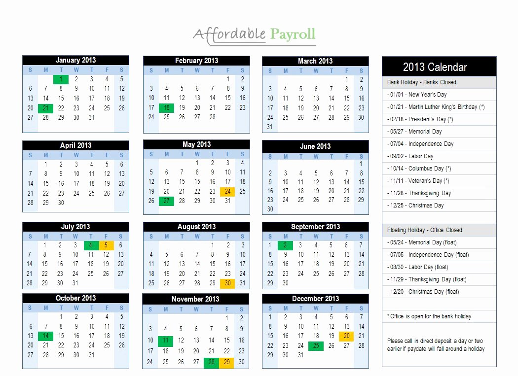 Weekly Payroll Calendar 2019 Unique Bi Monthly Payroll Calendar 2019
