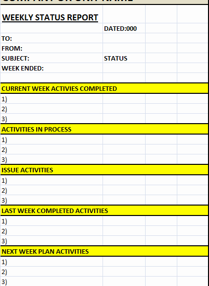 Weekly Project Status Report Template Excel Beautiful Weekly Status Report Template – Excel Word Templates
