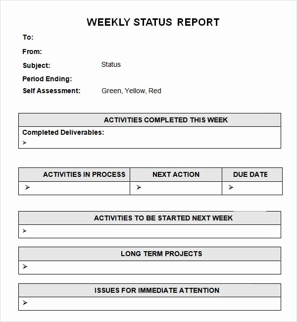 Weekly Project Status Report Template Excel Inspirational 7 Weekly Status Report Templates Word Excel Pdf formats