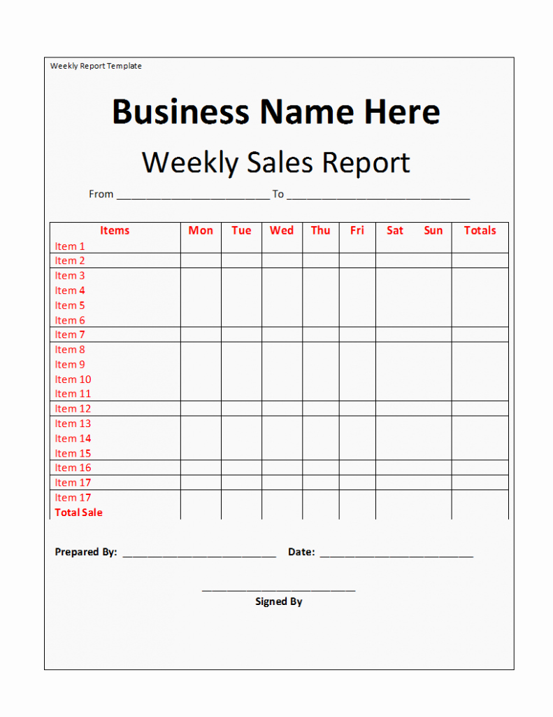 Weekly Sales Report Template Best Of Weekly Report Template