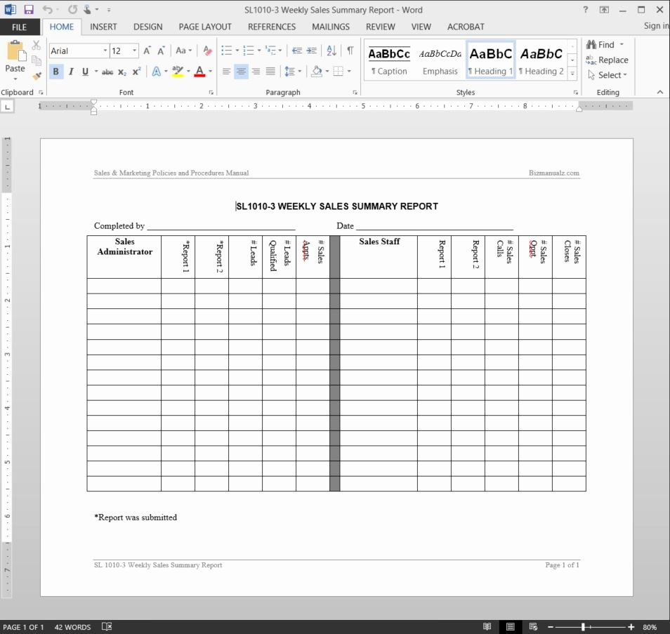 Weekly Sales Report Template Unique Weekly Sales Summary Report Template
