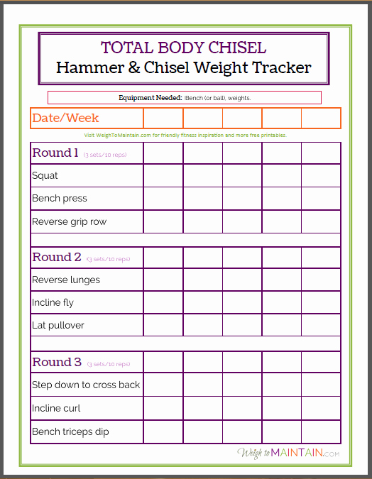 Weight Lifting Tracking Sheet Beautiful total Body Chisel Weight Tracker Worksheet