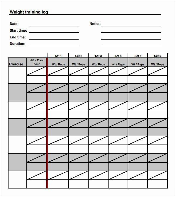 Weight Lifting Tracking Sheet Inspirational 9 Free Training Log Templates Pdf Word