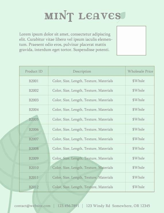 Wholesale Price List Template Beautiful Price Sheet for Line Sheet or wholesale Catalog by Simpleaspen