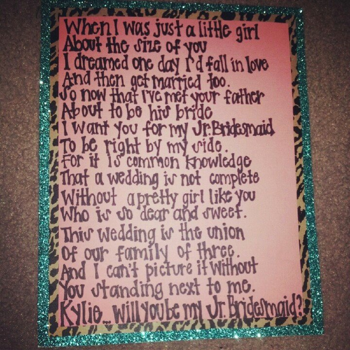 Will You Be My Bridesmaid Letter Template Awesome Poem I Wrote Ky to ask Her to Be My Jr Bridesmaid Along