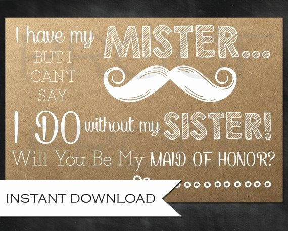 Will You Be My Bridesmaid Letter Template Beautiful Rustic Bridesmaid ask for the Sister Will You Be My Maid