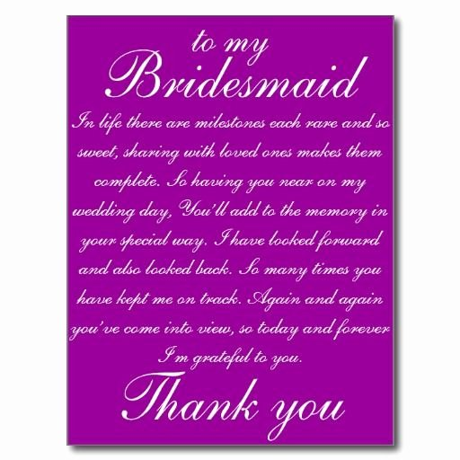 Will You Be My Bridesmaid Letter Template Fresh Bridesmaid Thank You Postcard Zazzle