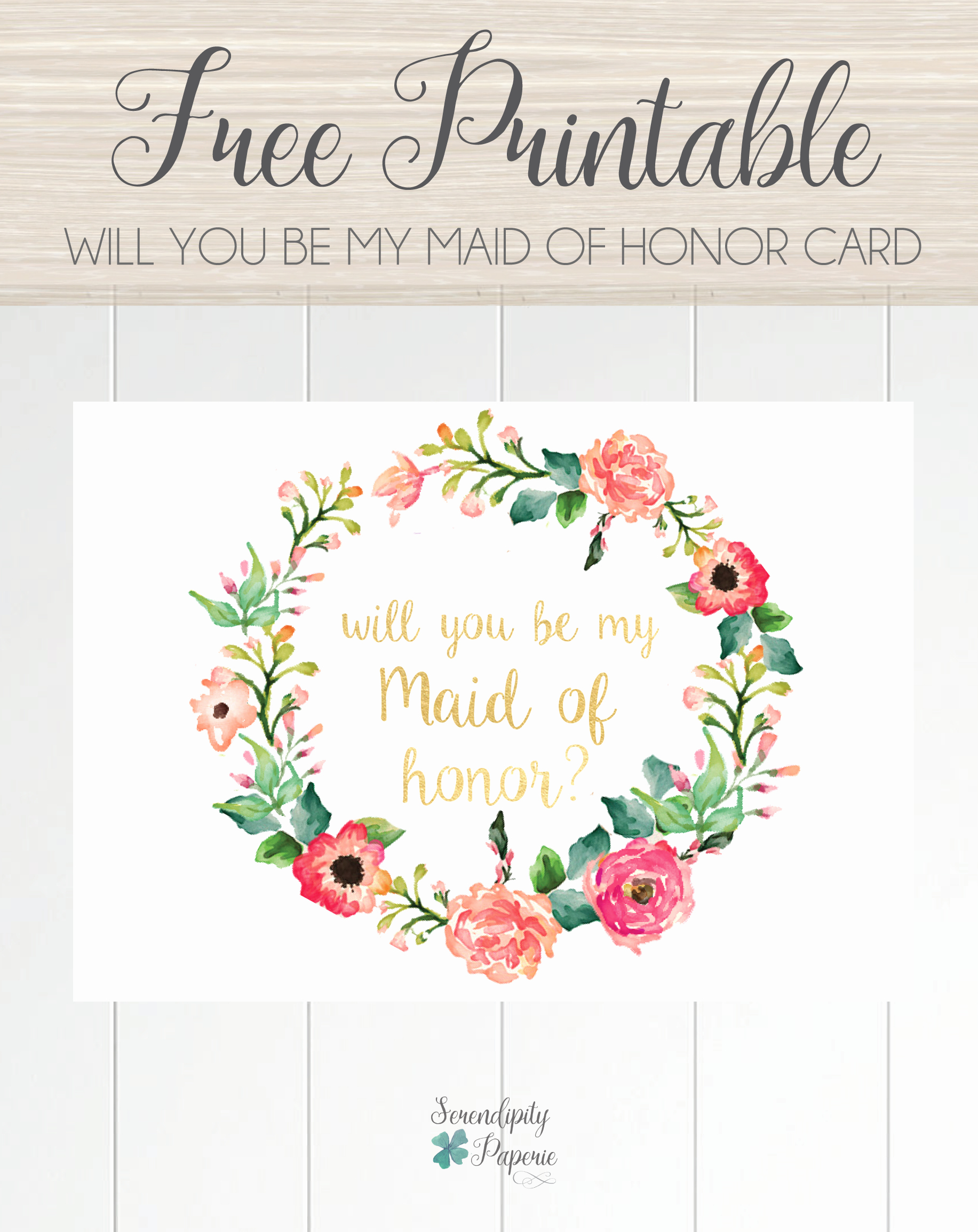 Will You Be My Bridesmaid Letter Template Inspirational Free Printable Will You Be My Maid Of Honor Card Floral