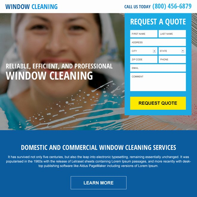 Window Cleaning Quote Template Inspirational Cleaning Service Landing Page Designs to Capture Leads