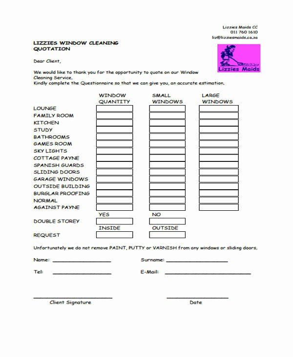 Window Cleaning Quote Template New 6 Cleaning Quotation Samples & Templates In Pdf
