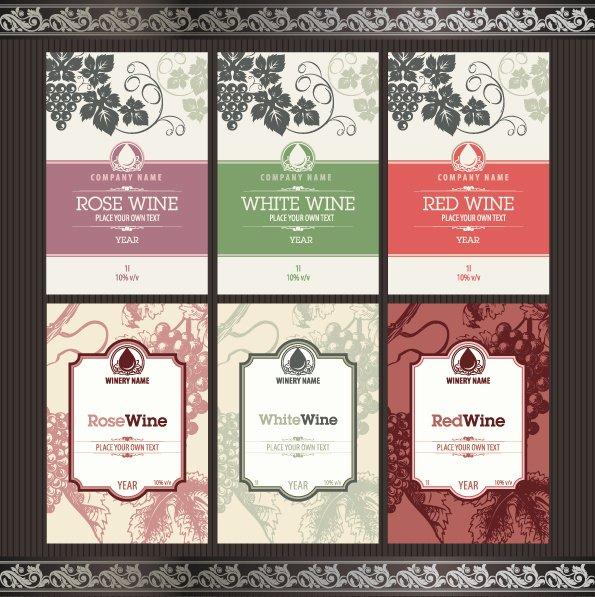 Wine Label Template Photoshop Best Of Vintage Elements Of Wine Labels Vector Material 02