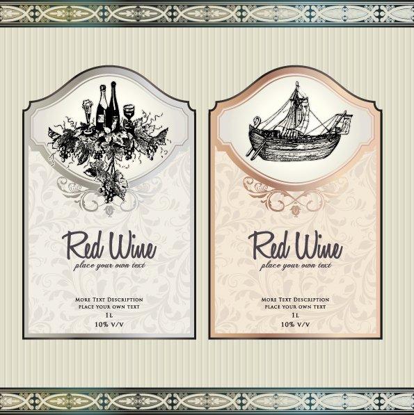 Wine Label Template Photoshop Unique Vintage Elements Of Wine Labels Vector Material 03 Free