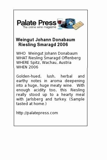 Wine Shelf Talker Template Free Inspirational Weingut Johann Donabaum Riesling Smaragd 2006