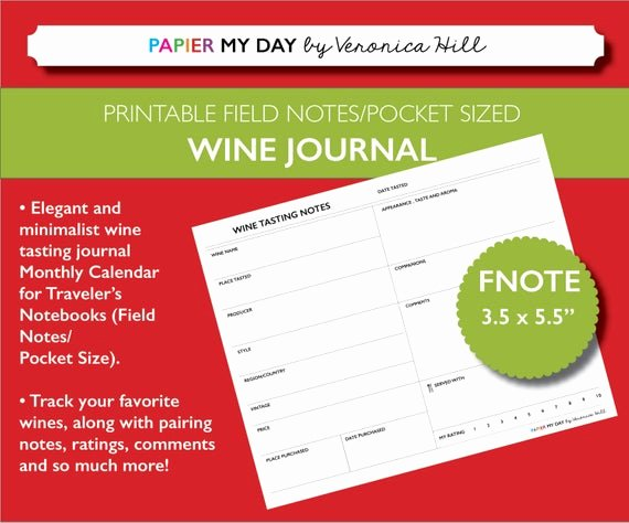 Wine Tasting Journal Template Awesome Wine Tasting Journal Printable Wine Tasting Notes for Field