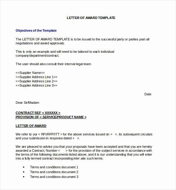 Winning Rfp Response Examples Pdf Elegant Sample Letter Of Award to