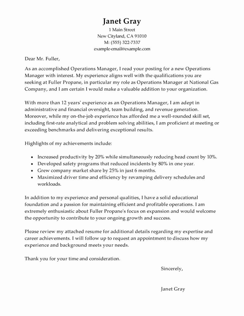 Winning Rfp Response Examples Pdf New Best Operations Manager Cover Letter Examples