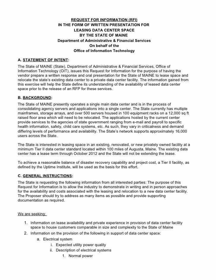 Winning Rfp Response Examples Pdf Unique Request for Information Rfi