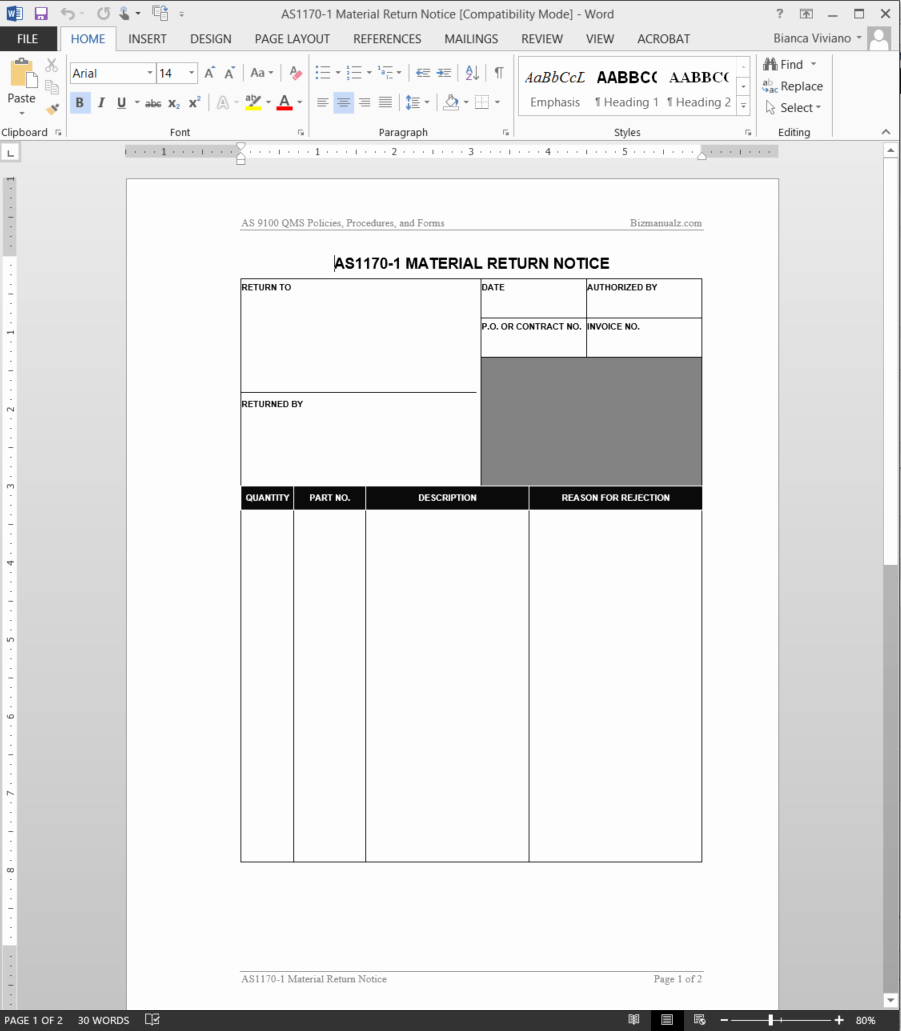 Wire Instruction Template Best Of Material Return Notice as9100 Template