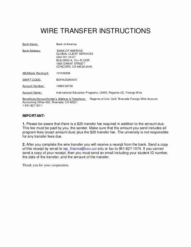 Wire Instruction Template Lovely University Of California Riverside Wire Transfer B Of A