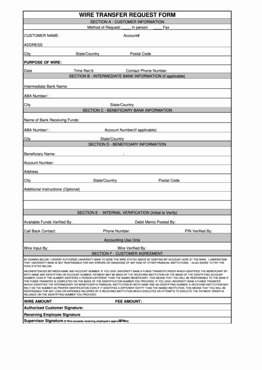 Wire Instructions Template New Fillable Wire Transfer Request form Printable Pdf