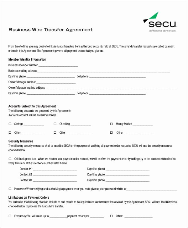 Wire Transfer Instructions Template Elegant 6 Sample Business Transfer Agreements