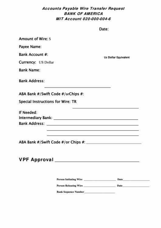Wire Transfer Instructions Template Fresh Accounts Payable Wire Transfer Request form Bank