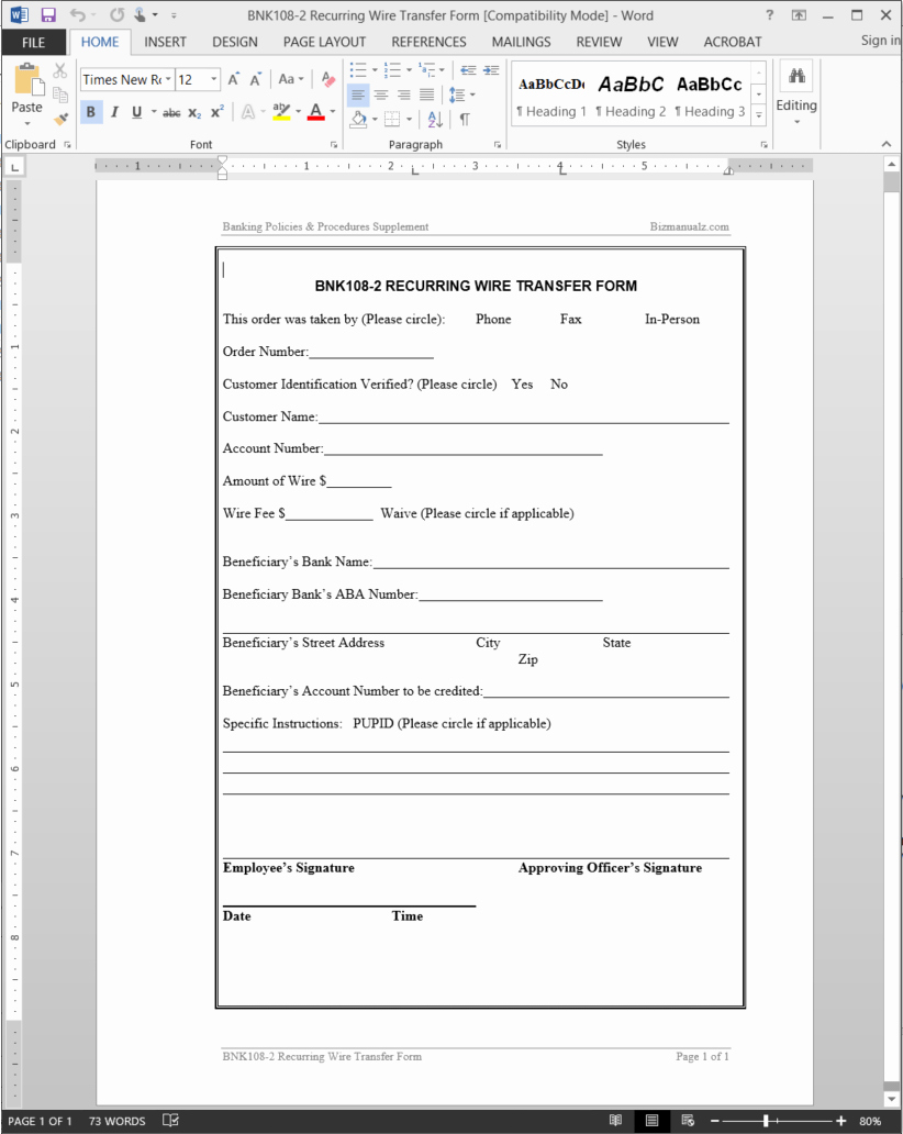 Wire Transfer Instructions Template Inspirational Recurring Wire Transfer form Template