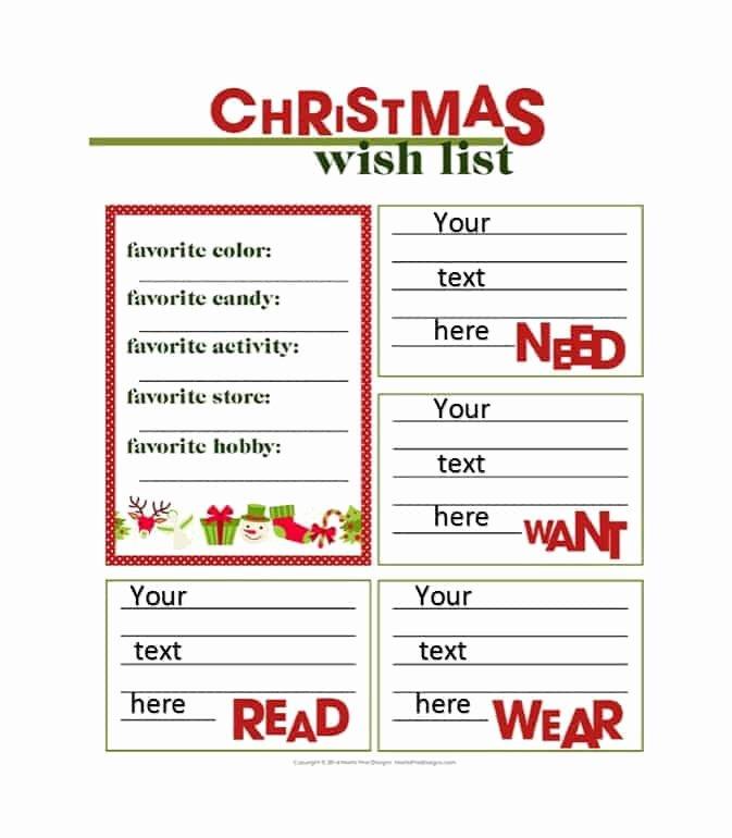 Wish List Template Awesome 43 Printable Christmas Wish List Templates & Ideas