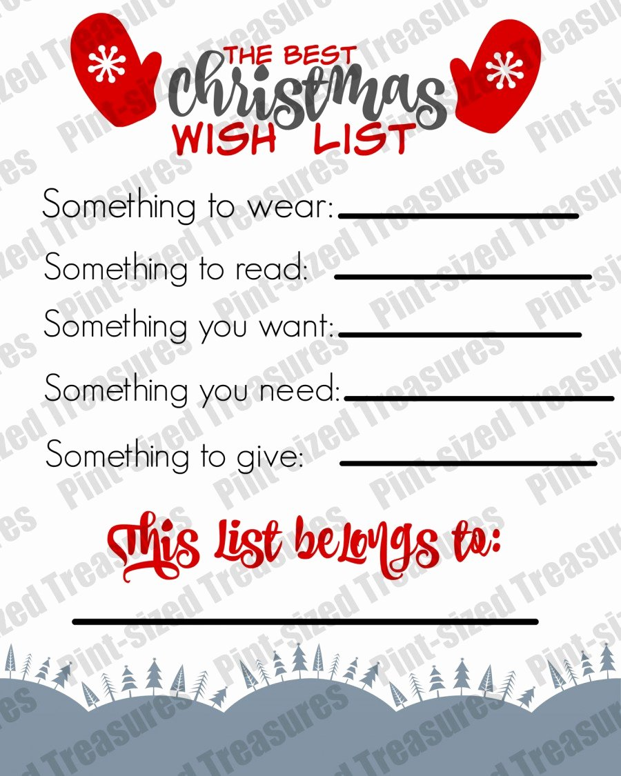 Wish List Template Inspirational the Best Printable Christmas Wish List for Kids · Pint