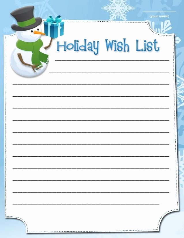 Wish List Template Lovely Snowman Wish List Free Printable Coloring Pages