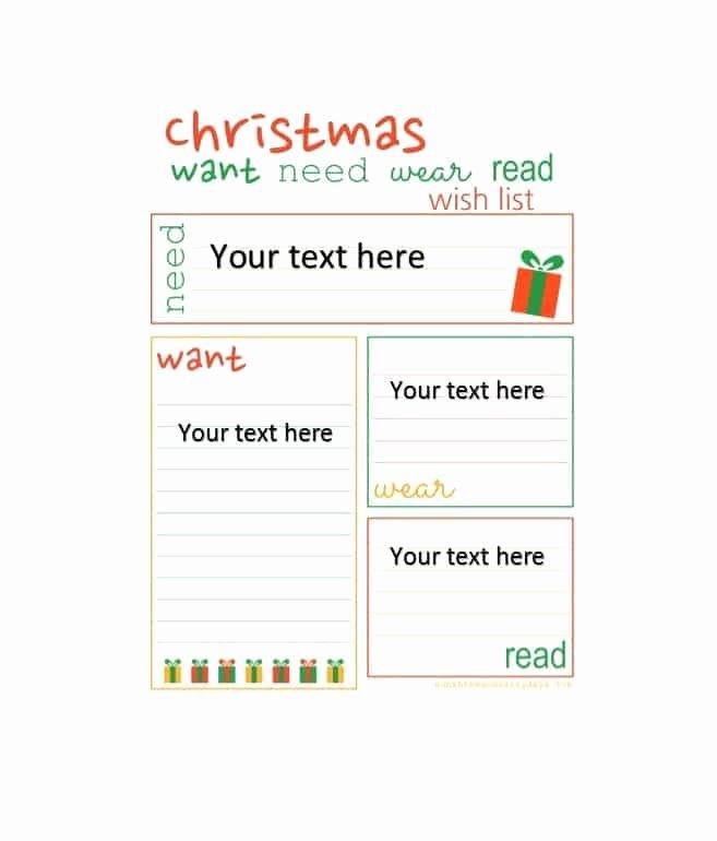 Wish List Template Luxury 43 Printable Christmas Wish List Templates & Ideas