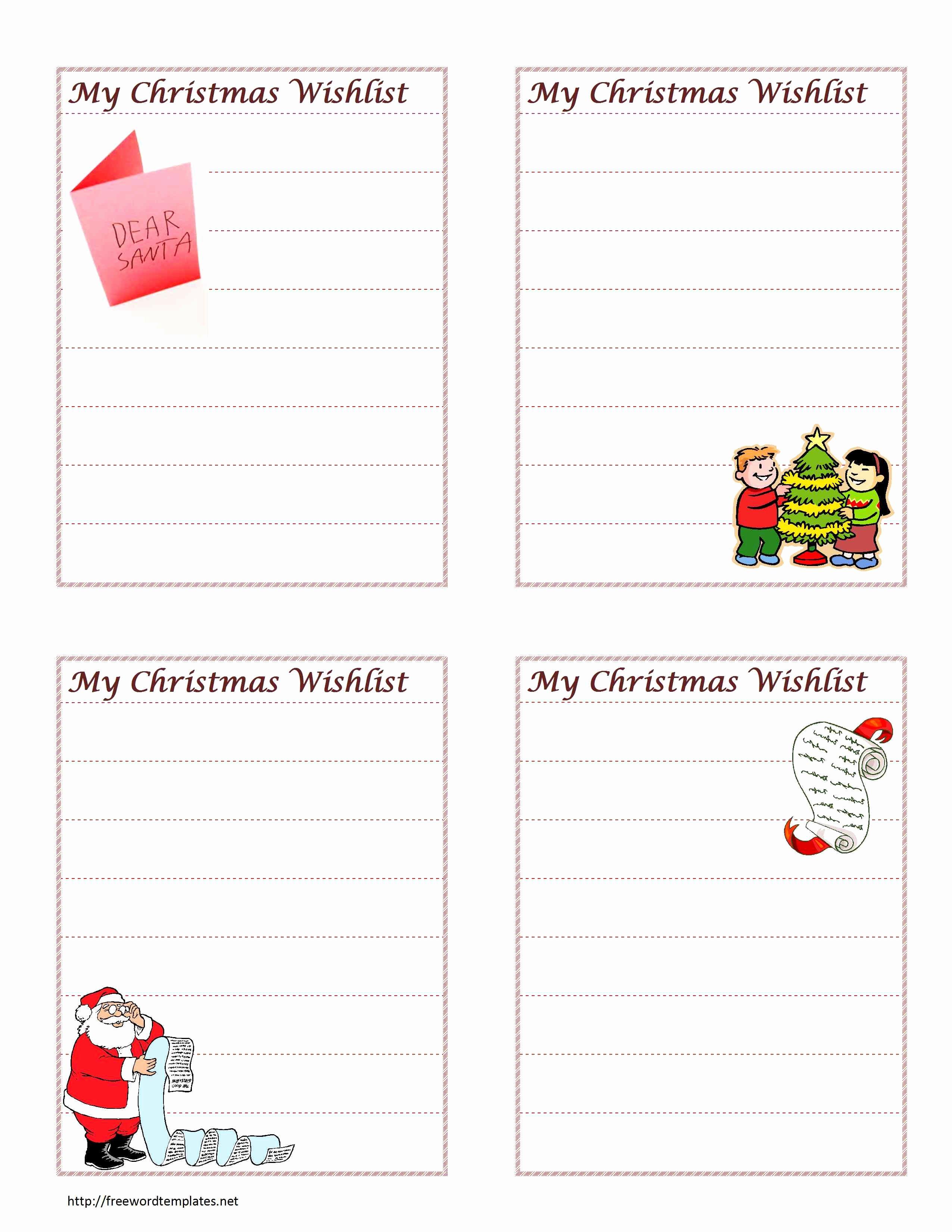 Wish List Template Luxury Christmas Wish List Template