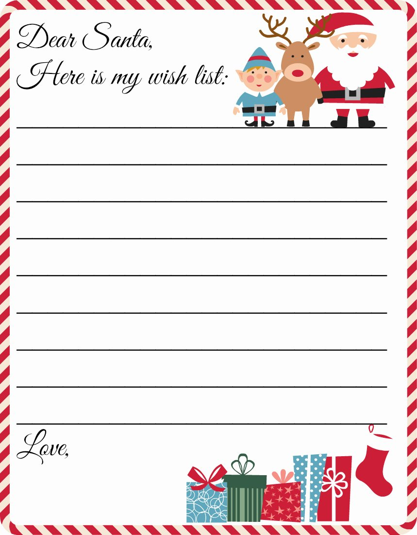 Wish List Template Luxury Free Printable Letter to Santa Template Cute Christmas