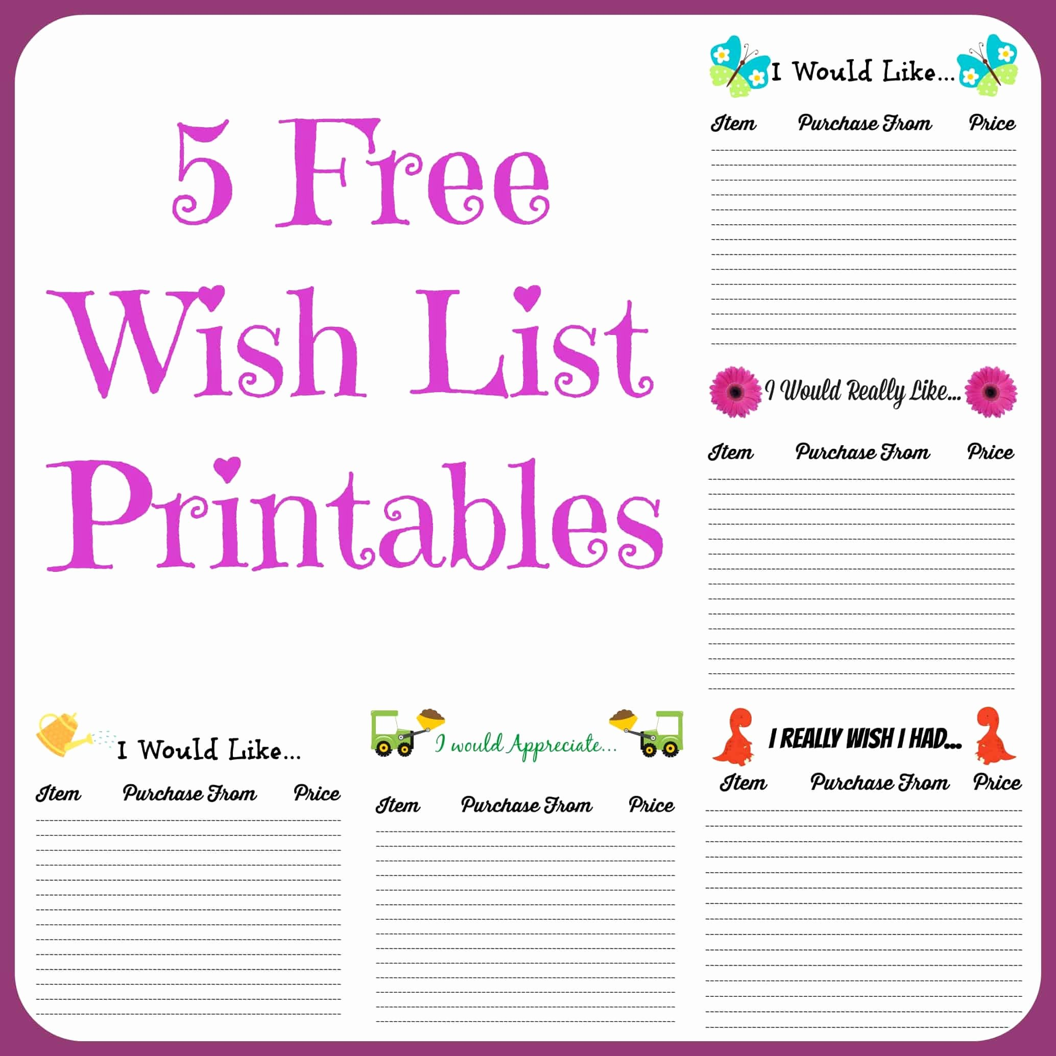 Wish List Template New Free Wish List Printables 5 Designs to Pick From