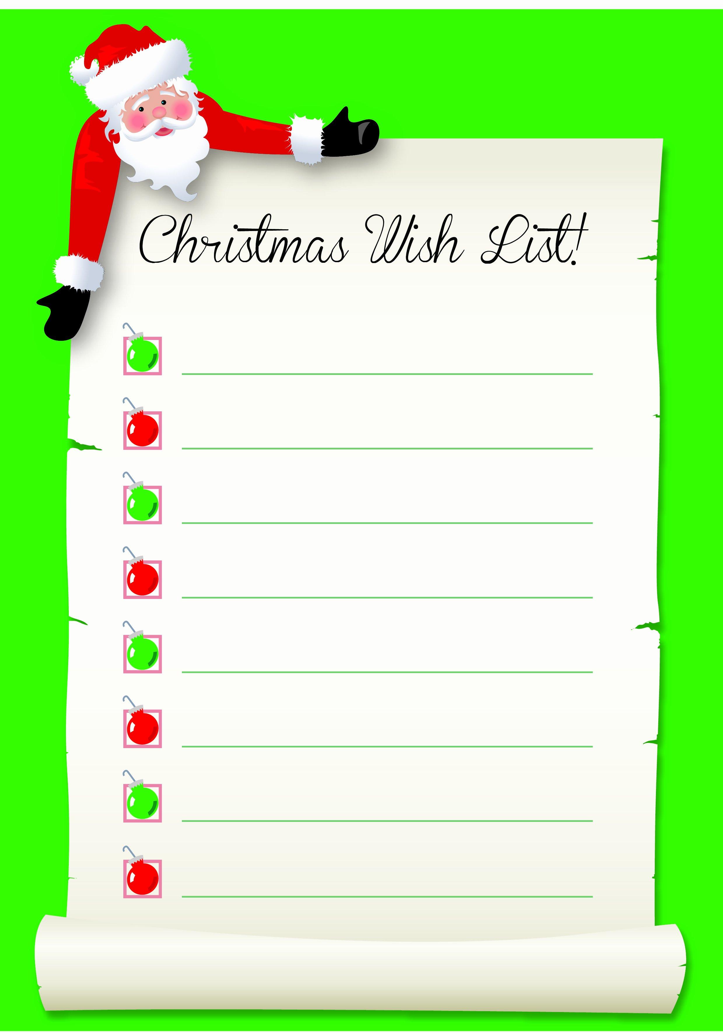 Wish List Template New Santa S Wish List Free