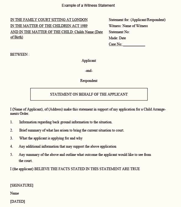 Witness Statement form Template Beautiful A Sample Position Witness Statement