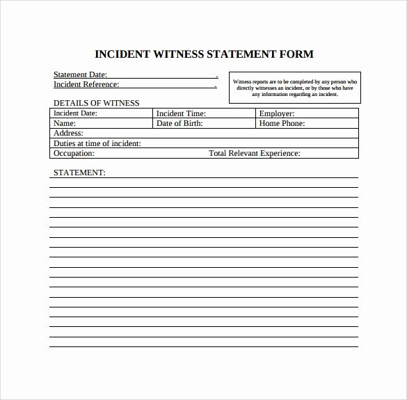 Witness Statement form Template Beautiful Incident Witness Statement Template Ephemera