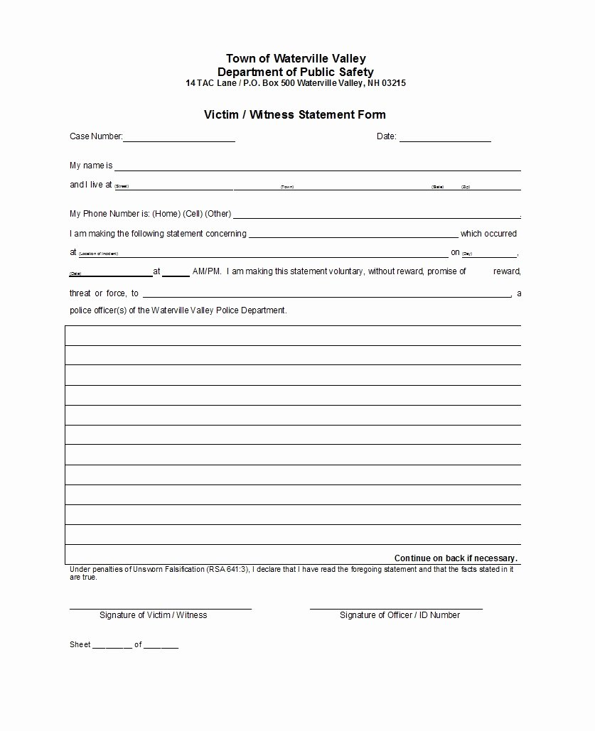 Witness Statement form Template Fresh 50 Professional Witness Statement forms & Templates