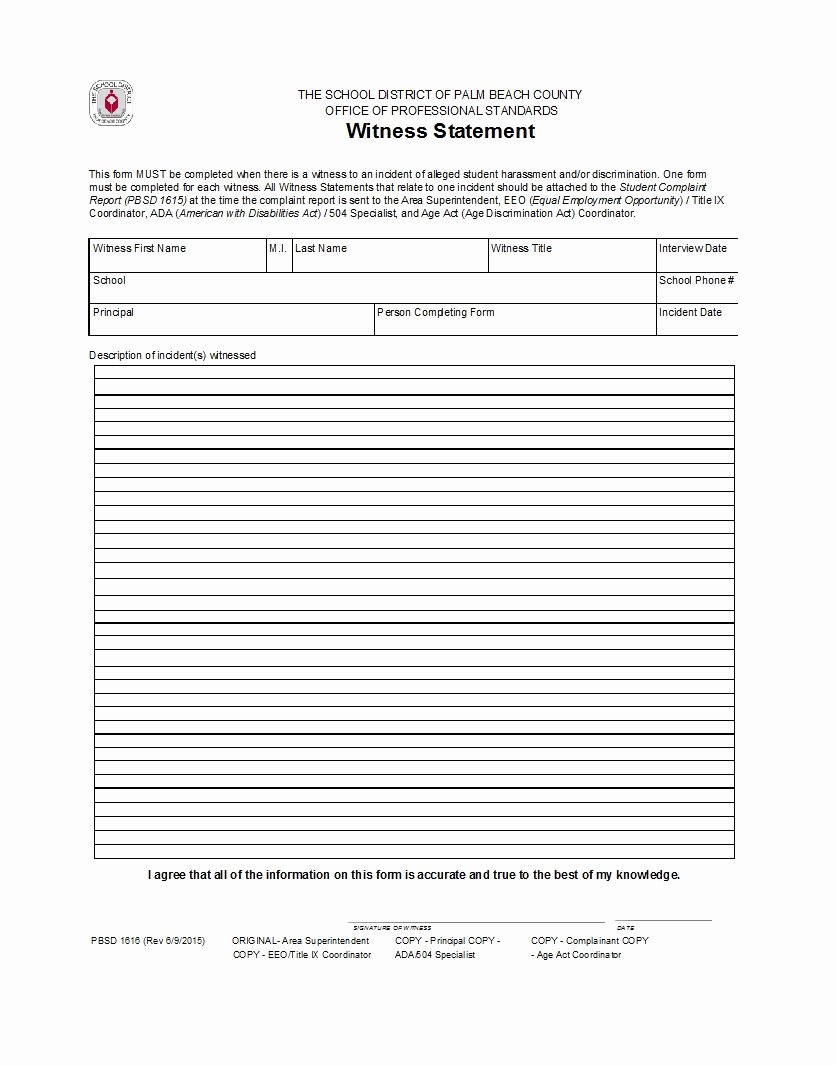 Witness Statement form Template Lovely 50 Professional Witness Statement forms & Templates