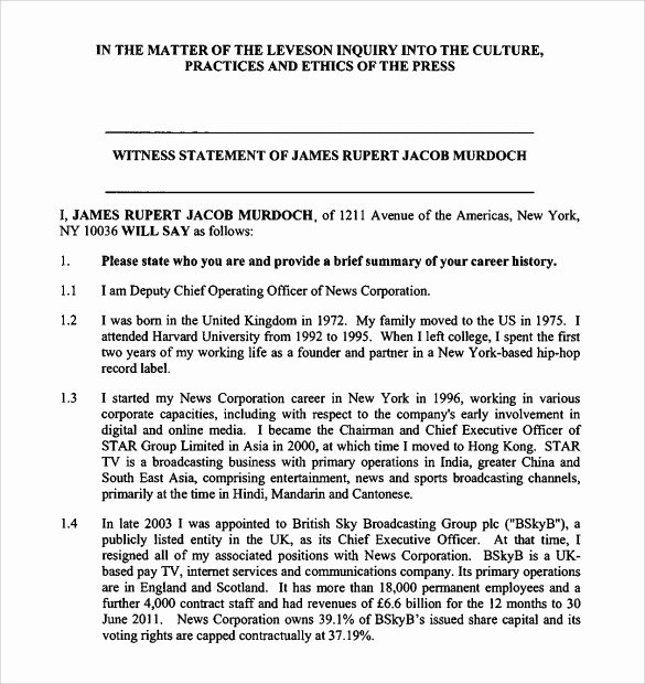 Witness Statement form Template Unique Sample Witness Statement 12 Documents In Pdf Word