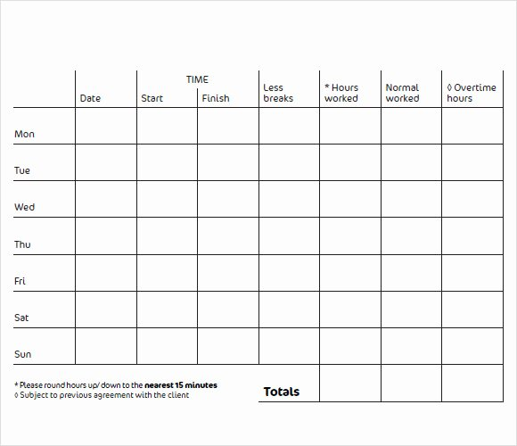 Work Hour Sheet Best Of 9 Blank Timesheet Templates Free Sample Example format